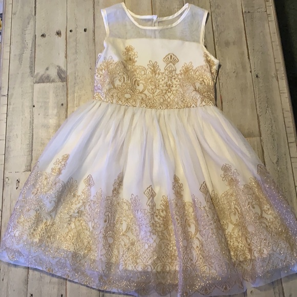 The Children's Place, Size: Girl's 8, White/gold